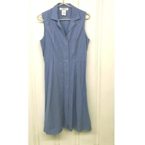 Vintage Dresses & Skirts - Linen Blend Sleeveless Shirt Dress Size 10
